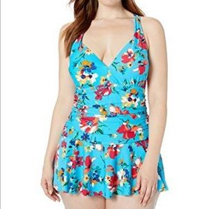 Chaps Ruched Front Skirted One Piece Swimsuit